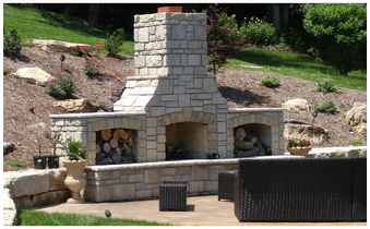 Outdoor Kitchen with Fireplace in St. Louis